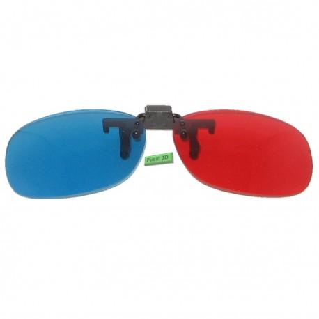 Kacamata 3D Anaglyph Clip On Red/Cyan Untuk Pengguna Kacamata Baca Di Semua Jenis TV