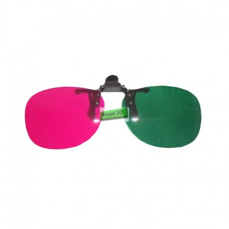 Kacamata 3D 4D Anaglyph Clip On Green/Magenta Untuk Pengguna Kacamata Baca Di Semua Jenis TV