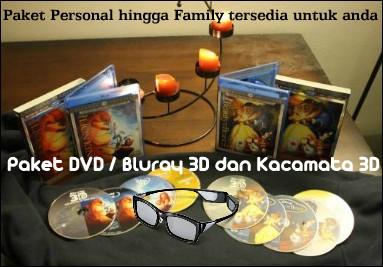 Paket DVD Bluray 3D dan Kacamata 3D